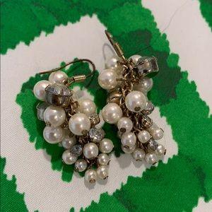 Faux pearl and faux diamond dangle earrings